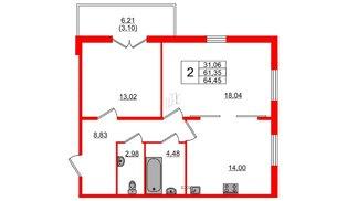 Квартира в ЖК Горки Парк, 2 комнатная, 64.37 м², 1 этаж