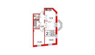 Квартира в ЖК Art House, 2 комнатная, 54.29 м², 5 этаж
