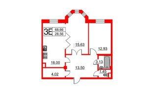 Квартира в ЖК Art House, 2 комнатная, 68.66 м², 4 этаж