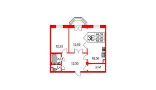 Квартира в ЖК Art House, 2 комнатная, 66.56 м², 5 этаж
