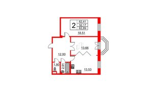 Квартира в ЖК Art House, 2 комнатная, 62.89 м², 5 этаж