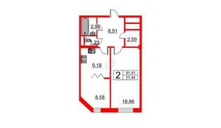 Квартира в ЖК Art House, 2 комнатная, 51.91 м², 4 этаж