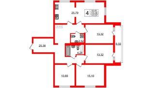 Квартира в ЖК Шуваловский, 4 комнатная, 114 м², 4 этаж
