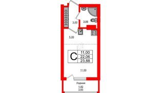 Квартира в ЖК Стерео-2, студия, 23.88 м², 12 этаж