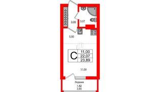 Квартира в ЖК Стерео-2, студия, 23.89 м², 16 этаж