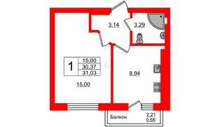 Квартира в ЖК Олимпия-7, 1 комнатная, 31.03 м², 1 этаж