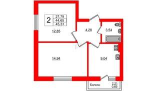 Квартира в ЖК Олимпия-7, 2 комнатная, 45.31 м², 1 этаж