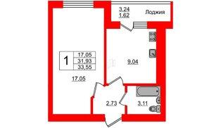 Квартира в ЖК Олимпия-7, 1 комнатная, 33.55 м², 1 этаж