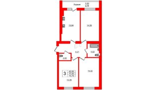Квартира в ЖК Олимпия-7, 3 комнатная, 73.75 м², 1 этаж
