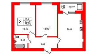 Квартира в ЖК Олимпия-7, 2 комнатная, 53.69 м², 2 этаж