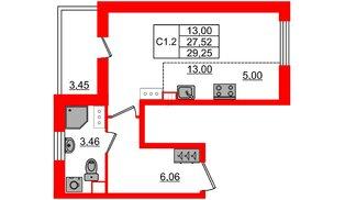 Квартира в ЖК «Солнечный город», студия, 27.52 м², 8 этаж