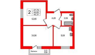 Квартира в ЖК Олимпия-7, 2 комнатная, 45.31 м², 6 этаж