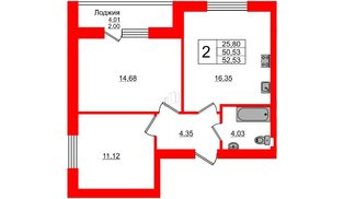 Квартира в ЖК Олимпия-4, 2 комнатная, 52.53 м², 1 этаж