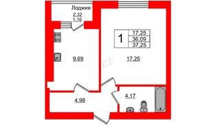 Квартира в ЖК Олимпия-4, 1 комнатная, 37.25 м², 1 этаж