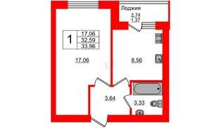 Квартира в ЖК Олимпия-4, 1 комнатная, 33.96 м², 1 этаж