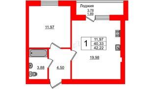 Квартира в ЖК Олимпия-4, 1 комнатная, 42.22 м², 1 этаж