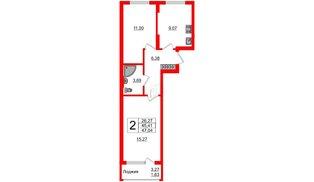 Квартира в ЖК Стерео-2, 2 комнатная, 47.04 м², 1 этаж