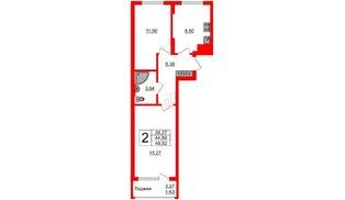 Квартира в ЖК Стерео-2, 2 комнатная, 46.52 м², 3 этаж