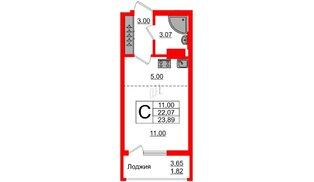 Квартира в ЖК Стерео-2, студия, 23.89 м², 6 этаж