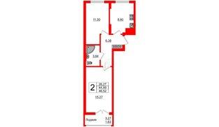 Квартира в ЖК Стерео-2, 2 комнатная, 46.52 м², 16 этаж