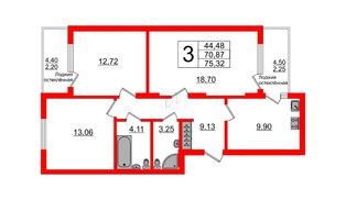 Квартира в ЖК Стерео-2, 3 комнатная, 75.32 м², 1 этаж