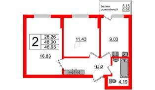Квартира в ЖК Стерео-2, 2 комнатная, 48.95 м², 1 этаж