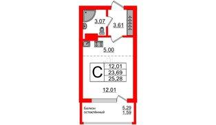 Квартира в ЖК Стерео-2, студия, 25.28 м², 4 этаж