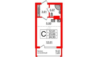 Квартира в ЖК Стерео-2, студия, 24.93 м², 4 этаж