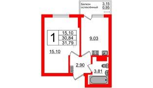 Квартира в ЖК Стерео-2, 1 комнатная, 31.79 м², 5 этаж