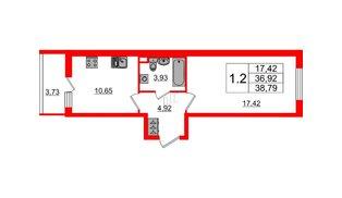 Квартира в ЖК «Солнечный город», 1 комнатная, 36.92 м², 1 этаж
