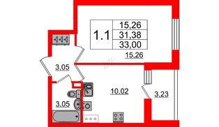 Квартира в ЖК «Солнечный город», 1 комнатная, 31.38 м², 2 этаж