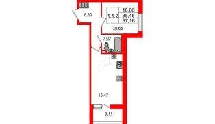 Квартира в ЖК «Солнечный город», 1 комнатная, 35.45 м², 1 этаж