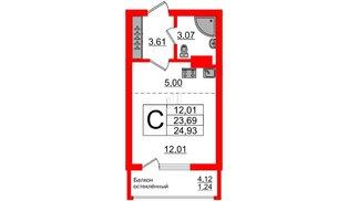 Квартира в ЖК Стерео-2, студия, 24.93 м², 11 этаж