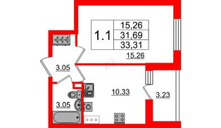 Квартира в ЖК «Солнечный город», 1 комнатная, 31.69 м², 1 этаж