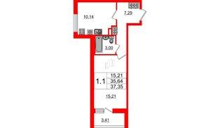 Квартира в ЖК «Солнечный город», 1 комнатная, 35.64 м², 1 этаж