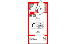 Квартира в ЖК Стерео-2, студия, 25.28 м², 13 этаж