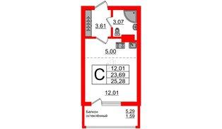Квартира в ЖК Стерео-2, студия, 25.28 м², 14 этаж