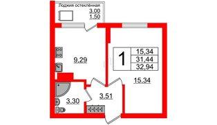 Квартира в ЖК Стерео-2, 1 комнатная, 32.94 м², 16 этаж
