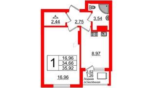 Квартира в ЖК Стерео-2, 1 комнатная, 35.92 м², 16 этаж