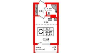 Квартира в ЖК Стерео-2, студия, 24.93 м², 16 этаж