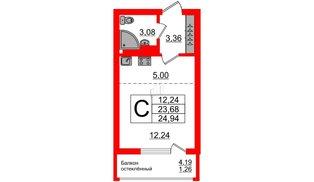 Квартира в ЖК Стерео-2, студия, 24.94 м², 16 этаж