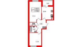 Квартира в ЖК «Солнечный город», 2 комнатная, 50.25 м², 2 этаж