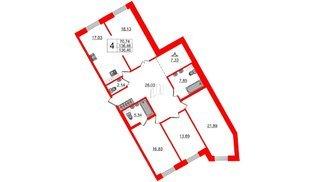 Квартира в ЖК Идеалист, 4 комнатная, 136.46 м², 2 этаж
