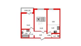 Квартира в ЖК Ручьи, 2 комнатная, 53.38 м², 2 этаж