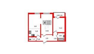Квартира в ЖК Ручьи, 2 комнатная, 53.53 м², 2 этаж