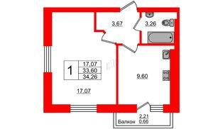 Квартира в ЖК Олимпия-4, 1 комнатная, 34.26 м², 7 этаж