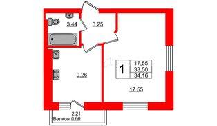 Квартира в ЖК Олимпия-4, 1 комнатная, 34.16 м², 7 этаж