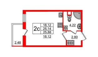 Квартира в ЖК «Чистое небо», студия, 25.14 м², 1 этаж