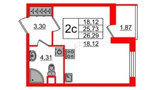 Квартира в ЖК «Чистое небо», студия, 25.73 м², 1 этаж