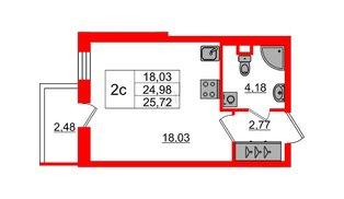 Квартира в ЖК «Чистое небо», студия, 24.98 м², 1 этаж